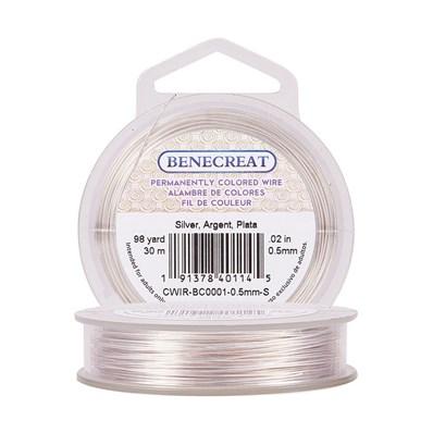 Copper Wire, BENECREAT&reg Craft, Silver, 0.5mm