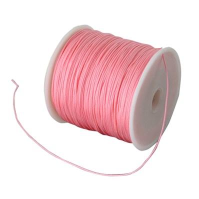 Braided Nylon Cord, Imitation Silk String Thread, LightCoral, 0.8mm; a