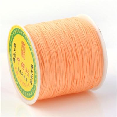 Braided Nylon Cord, Imitation Silk String Thread, LightSalmon, 0.8mm;