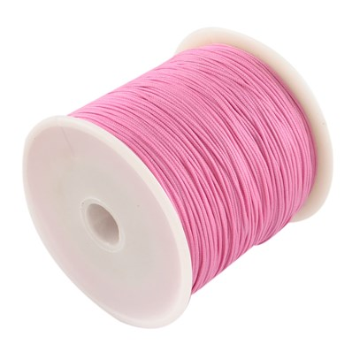 Braided Nylon Cord, Imitation Silk String Thread, HotPink, 0.8mm; abou