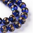 Handmade Goldsand Lampwork Round Bead Strands, MediumBlue, 12mm in diameter, hole: 1~2mm, approx 27~30 beads / strand