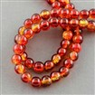 Spray Painted Crackle Glass Beads Strands, Round, Tomato, 6mm in diameter, hole: 1.3~1.6mm