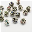 Alloy Rhinestone European Beads, Flower Large Hole Beads, Antique Silver, Mixed Color, 11mm in diameter, 9mm thick, hole: 5mm