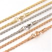 304 Stainless Steel Rope Chain Necklaces, with Lobster Claw Clasps, Mixed Color, 2.5mm wide, 15.7