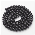 Glass Pearl Beads Strands, Pearlized, Round, Black, 10mm in diameter, hole: 1mm(HY-10D-B20)