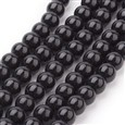 Glass Beads Strands, Pearlized, Round, Dyed, Black, 6mm in diameter, hole: 1mm(K-HY-6D-B20)