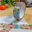 Vacation Travel Theme Color Stamps DIY Scrapbook Decorative Adhesive Tapes, Colorful, 15mm, 5m/roll