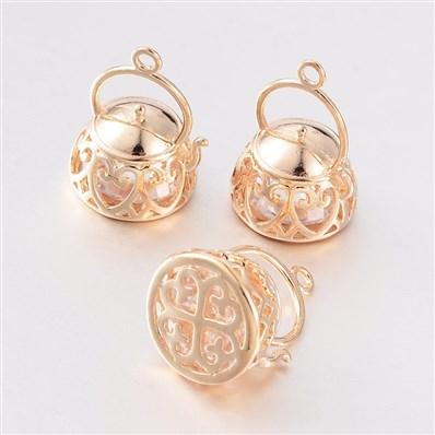 Teapot Brass Cubic Zirconia Pendants, Golden, 12mm wide, 17mm long, ho