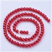 Glass Pearl Beads Strands, Pearlized, Round, Crimson, 4mm in diameter, hole: 1mm