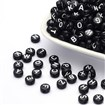 Alphabet Acrylic Beads, Flat Round, Black, 7mm in diameter, 4mm thick, hole: 1mm,