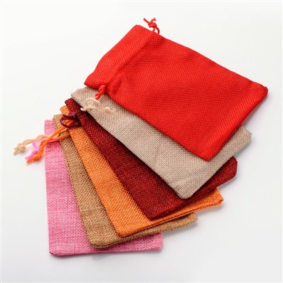 Burlap Packing Pouches Drawstring Bags, Mixed Style, Mixed Color, 180m