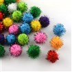 Handmade DIY Doll Craft Pom Pom Yarn Pom Pom Balls, with Metallic Cord, Mixed Color, 10mm in diameter