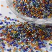 15/0 Silver Lined Round Glass Seed Beads, Mixed Color, 1.5~2mm in diameter, 0.5~2mm thick, hole: 0.5mm, approx 66100pcs/pound