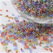 15/0 Transparent Colours Rainbow Plated Round Glass Seed Beads, Mixed Color, 1.5~2x0.5~2mm, hole: 0.5mm, approx 66100pcs/pound