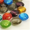 Handmade Silver Foil Glass Beads, Flat Round, Mixed Color, 12mm in diameter, 8mm thick, hole: 1.5mm