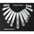 Non-magnetic Hematite Beads Strand, Rectangle, Silver Plated, 12~29x4x3.5mm(G-Q660-1)
