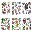 Dragon Cool Body Art Removable Fake Temporary Tattoos Paper Stickers, Mixed Color, 13~100x15~70mm