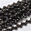 Defective Closeout Sale. Faceted Round Half Plated Electroplate Glass Beads Strands, Black Plated, 8mm in diameter, hole: 1mm