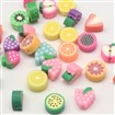 Handmade Polymer Clay Fruit Theme Beads, Mixed Color, 7~12mm long, 8~10mm wide, 4~5mm thick, hole: 2mm