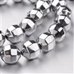 Electroplate Non-magnetic Synthetic Hematite Bead Strands, Faceted, Round, Silver Plated, 10x10mm, approx 36~40 beads / strand