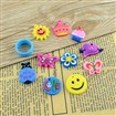 Mixed Jewelry Making Craft PVC Charms, for Loom Rubber Bands, Mixed Color, 16~25mm long, 16~26mm wide, 2~3mm thick, hole: 1~2mm