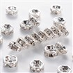 Middle East Rhinestone Clear, Brass, Silver Metal Color, Nickel Free, 7mm in diameter, 3.2mm thick; hole: 1.2mm