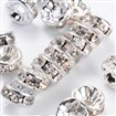 Middle East Rhinestone???Clear, Brass, Silver Metal Color, Nickel Free, 8mm in diameter, 3.8mm thick; hole: 1.5mm
