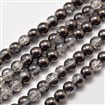 Electroplate Crackle Glass Round Bead Strands, Half Plated, Black Plated, 8mm in diameter, hole: 1mm, approx 50 beads / strand, 15.7