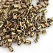 TOHO&reg Japan Import Plated Glass Bugle Beads, Iris Round, Golden Plated, 2x1.7~1.8mm, Hole: 1mm; about 600pcs/10g
