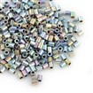 TOHO&reg Japan Import Plated Glass Bugle Beads, Opaque Colors Rainbow, Round Hole, AB Color Plated, Silver, 2x1.7~1.8mm, Hole: 1mm; about 600pcs/10g