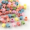 Craft Style Acrylic European Beads, Large Hole Column Beads, Mixed Color, 8mm long, 7.5~8mm wide, 4~11mm thick, hole: 4mm