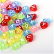 Transparent Acrylic Heart Alphabet Beads, Mixed Color, 10.5mm long, 11.5mm wide, 4.5mm thick, hole: 2mm