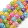 Synthetic Crackle Crystal Round Beads Strands, Dyed, Mixed Color, 12mm in diameter, hole: 1mm(G-L155-12MM-01)