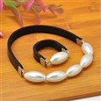 Bracelets, with Genuine Cowhide Cord and Iron Findings, Silver Color(SJEW-JS00296-01)
