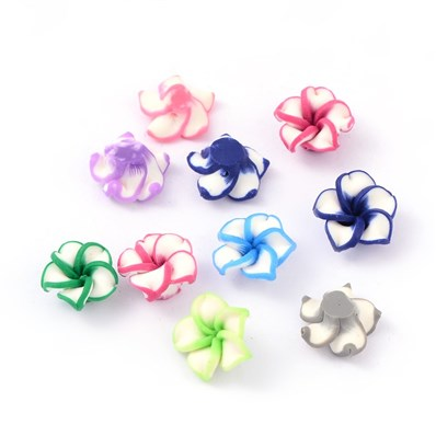 Handmade Polymer Clay 3D Flower Plumeria Beads, Mixed Color, 12~13mm i