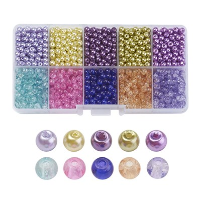 Lavender Garden Mixed Crackle Glass & Glass Pearl Bead Sets, Round, Mi
