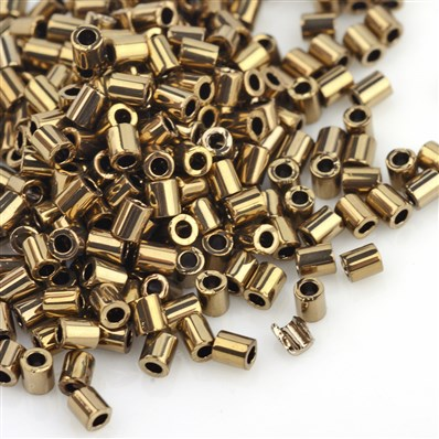 TOHO&reg Japan Import Plated Glass Bugle Beads, Iris Round, Golden Pla
