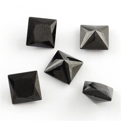 Square Shaped Cubic Zirconia Pointed Back Cabochons, Faceted, Black, 6