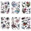 Scorpion Cool Body Art Removable Fake Temporary Tattoos Paper Stickers, Mixed Color, 14~95x15~75mm