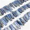 Natural Kyanite Bead Strands, Nuggets, 8~12mm wide, 18~35mm long, 3~4mm thick, hole: 1mm; approx 40~45 beads / strand, 15.4
