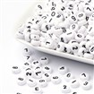 Colorful Acrylic Beads, Number Style, Flat Round, White, 7x4mm