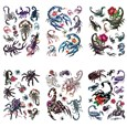 Scorpion Cool Body Art Removable Fake Temporary Tattoos Paper Stickers, Mixed Color, 14~95x15~75mm(AJEW-K003-211)