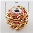 Handmade Indonesia Beads, with Aluminum Cores, Round, Platinum, LightCoral, 18mm in diameter, 15mm thick, hole: 3mm(IPDL-Q010-11)
