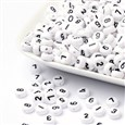 Colorful Acrylic Beads, Number Style, Flat Round, White, 7x4mm(PB9111)