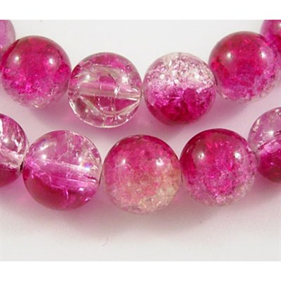 Round Crackle Glass Beads, Pearl Luster Plated, MediumVioletRed and Cl