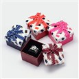 Square with Checkered Pattern Cardboard Ring Boxes, with Sponge Inside and Satin Ribbon Bowknots, Mixed Color, 50mm wide, 50mm long, 35mm high(CBOX-M001-31)