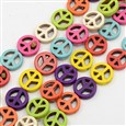 Natural Howlite Beads Strands, Dyed, Peace Sign Bead for Bracelet Making, Mixed Color, 4mm thick, 20mm in diameter, hole: 1mm(TURQ-G140-31)