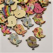 (Buy 3,Pay for 2) Bird Dyed 2-Hole Printed Wooden Buttons, Mixed Color, 27mm wide, 29.5mm long, 2.5mm thick, hole: 1mm