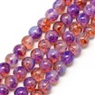 Baking Painted Glass Beads Strands, Imitation Opalite, Round, DarkViolet, 8mm, Hole: 1.3~1.6mm; about 100pcs/strand, 31.4