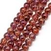 Baking Painted Glass Beads Strands, Imitation Opalite, Round, DarkRed, 6mm, Hole: 1.3~1.6mm; about 133pcs/strand, 31.4